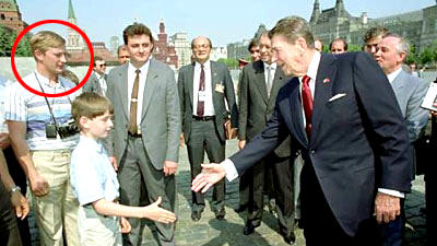 Tourist Putin with Ronald Reagan
